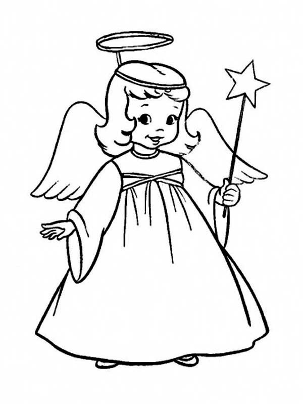 600x799 Christmas Coloring Pages For Girls A Charming Little Girl In Angel