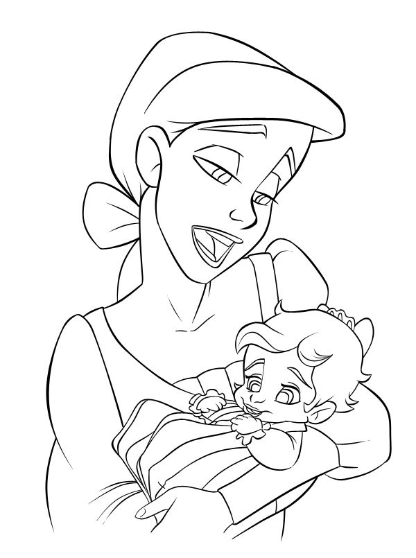600x805 Baby Ariel And Melody The Little Mermaid Melody Coloring Pages