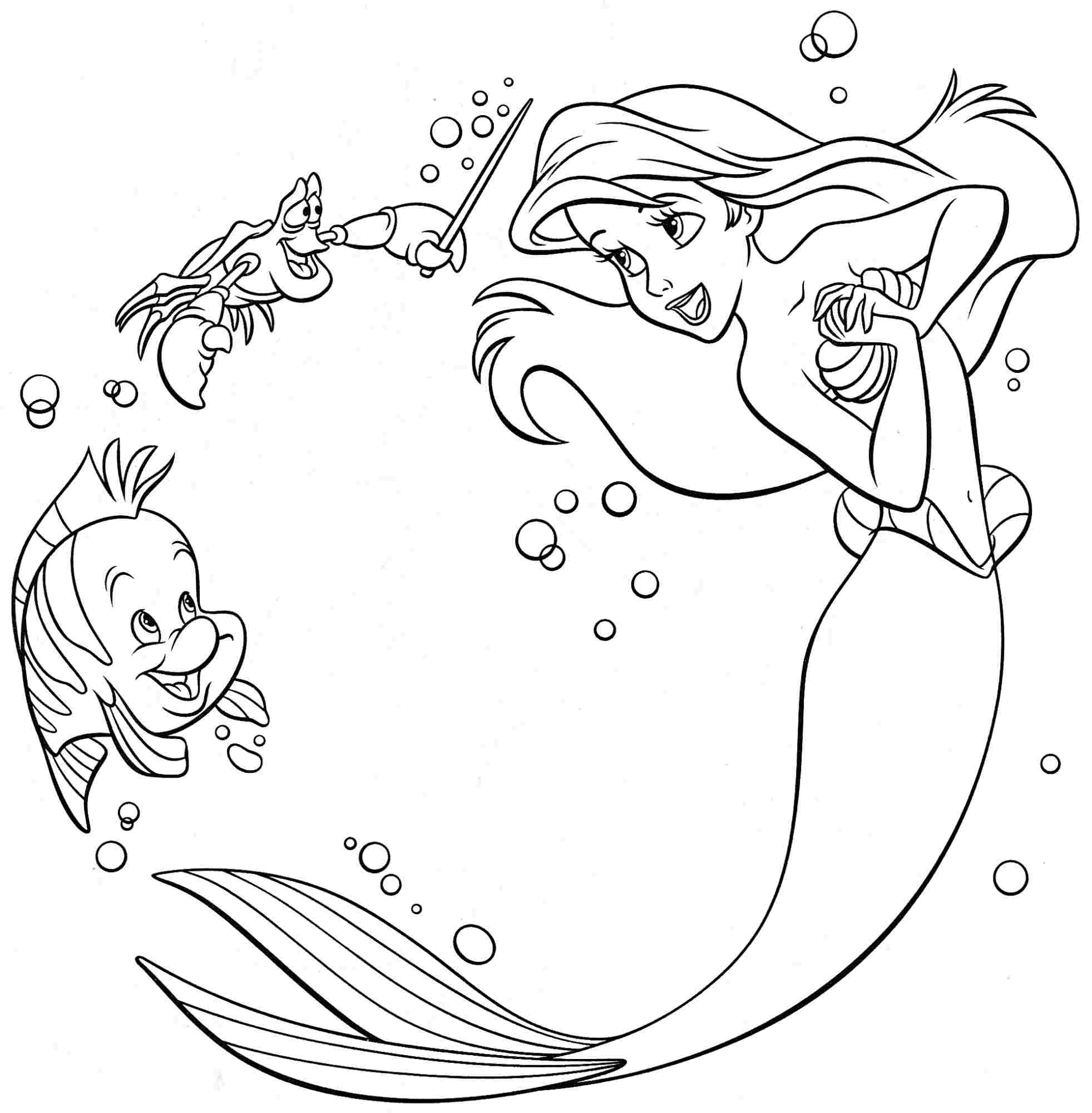 Little Mermaid Coloring Pages at GetDrawings | Free download