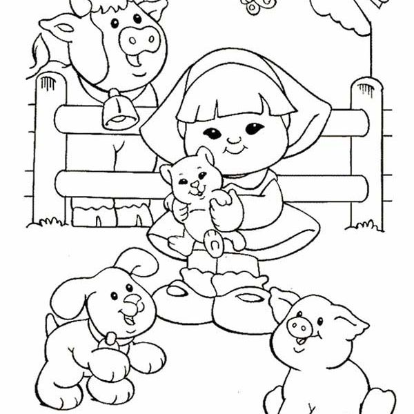 600x600 Little People Coloring Pages Little People With Animals Barn