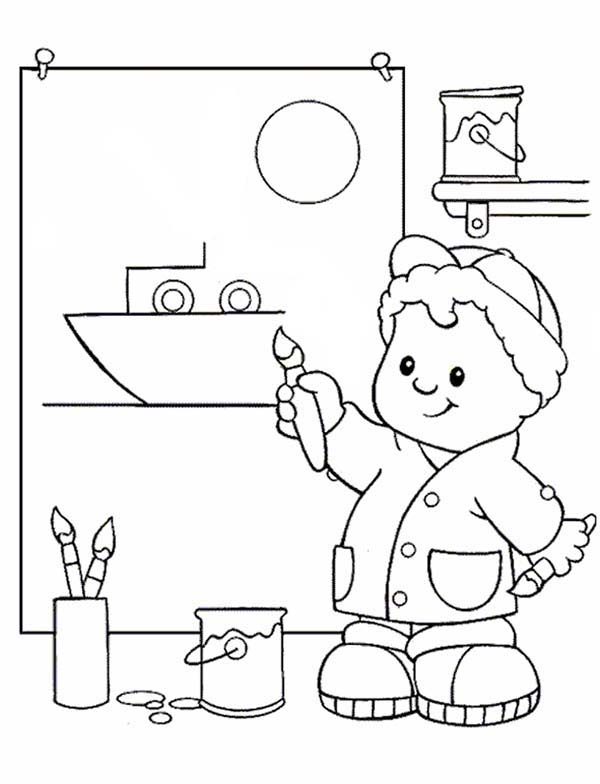 600x784 Little People Drawing A Boat Coloring Pages Batch Coloring