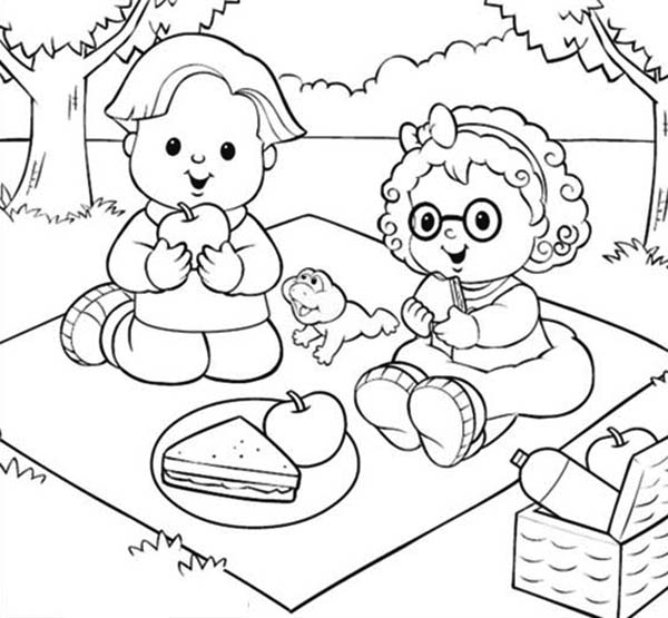600x555 Little People Picnic With Friend Coloring Pages Batch Coloring
