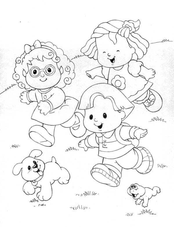 600x780 Little People Running Down The Hill Coloring Pages Batch Coloring
