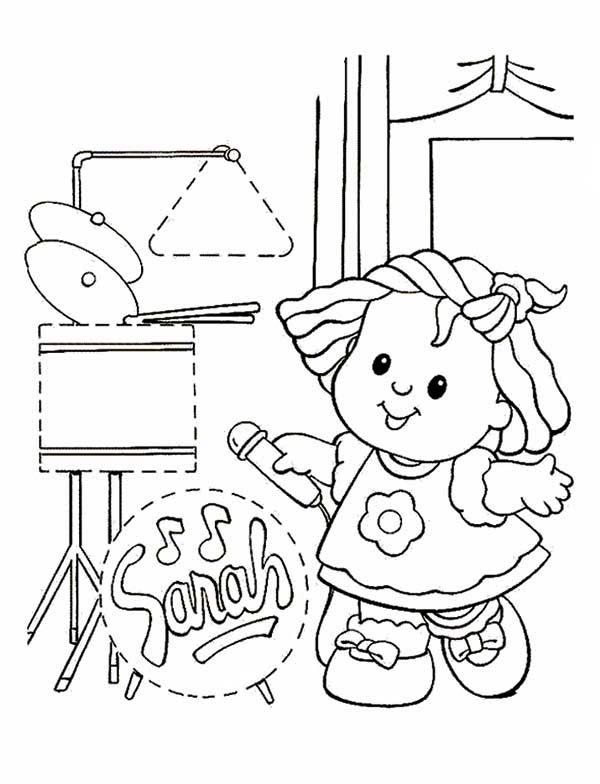 600x784 Little People Sarah Is Singing Coloring Pages Batch Coloring
