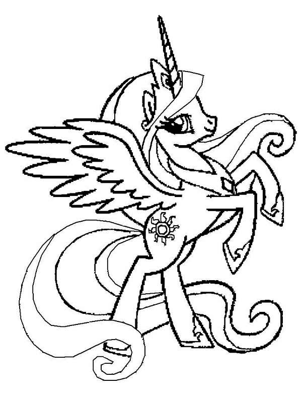 600x788 Princess Celestia Rearing In My Little Pony Coloring Page