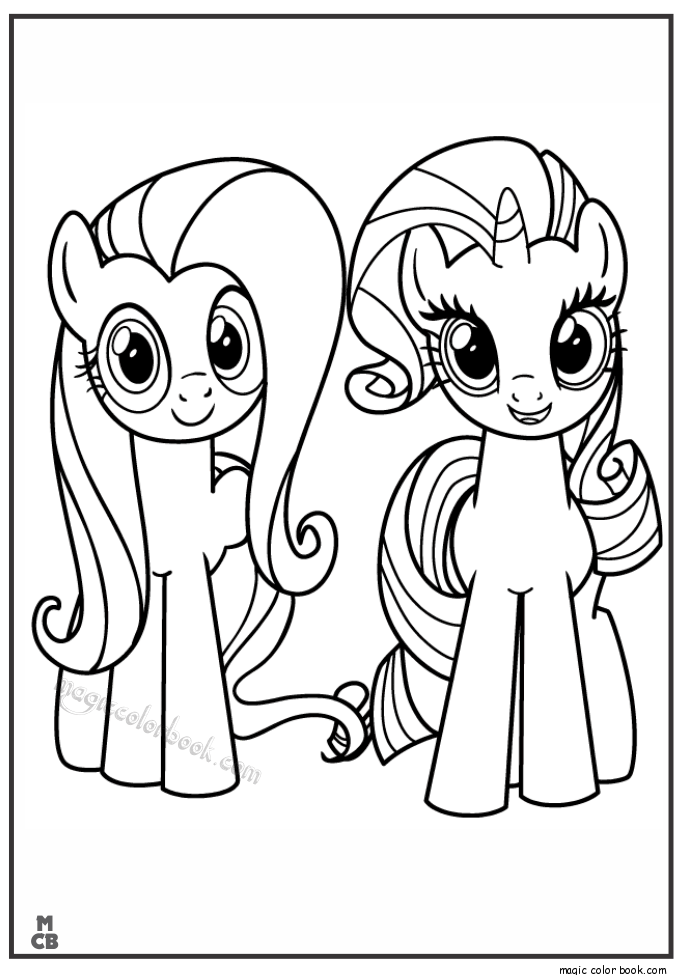 685x975 Fluttershy Rarity My Little Pony Coloring Pages