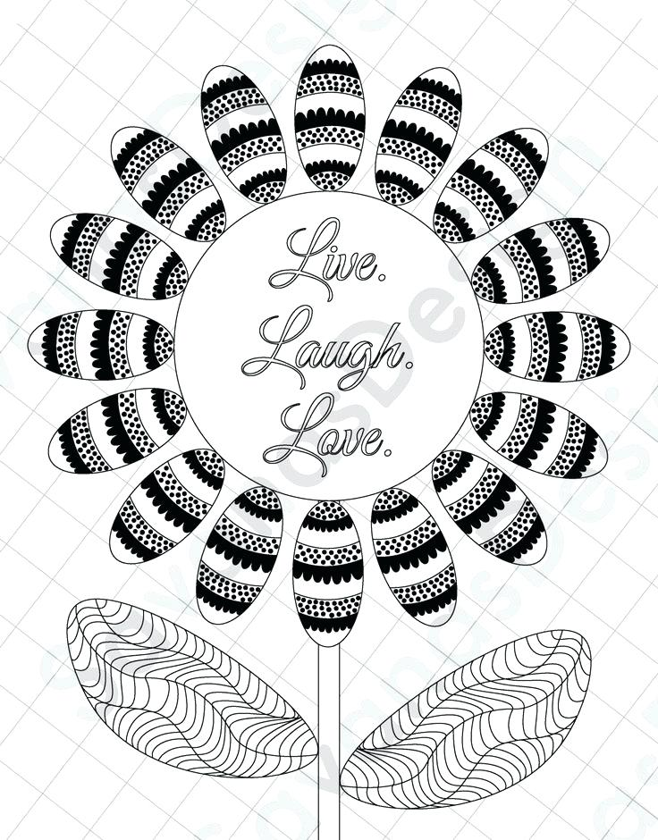736x940 Live Laugh Love Coloring Pages Sunflower Page Sheet