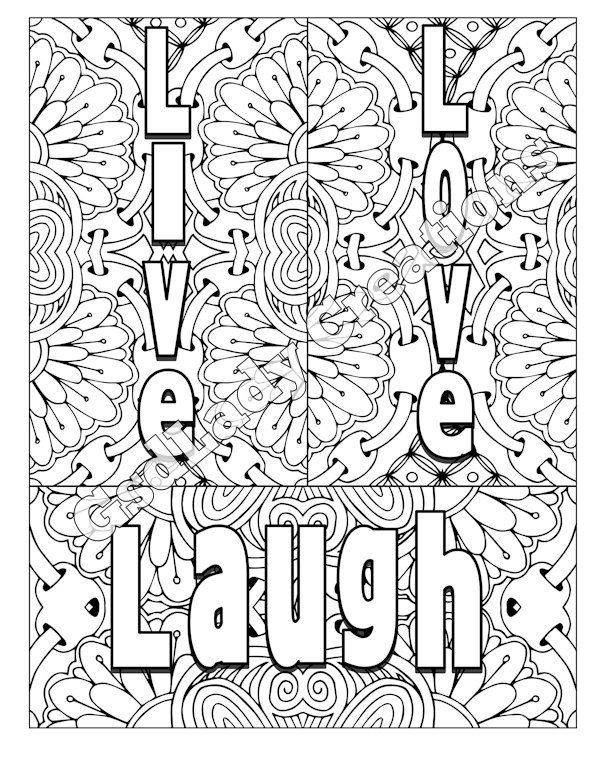 600x776 Word Art Adult Coloring Page Art Letter Design Live Love Laugh