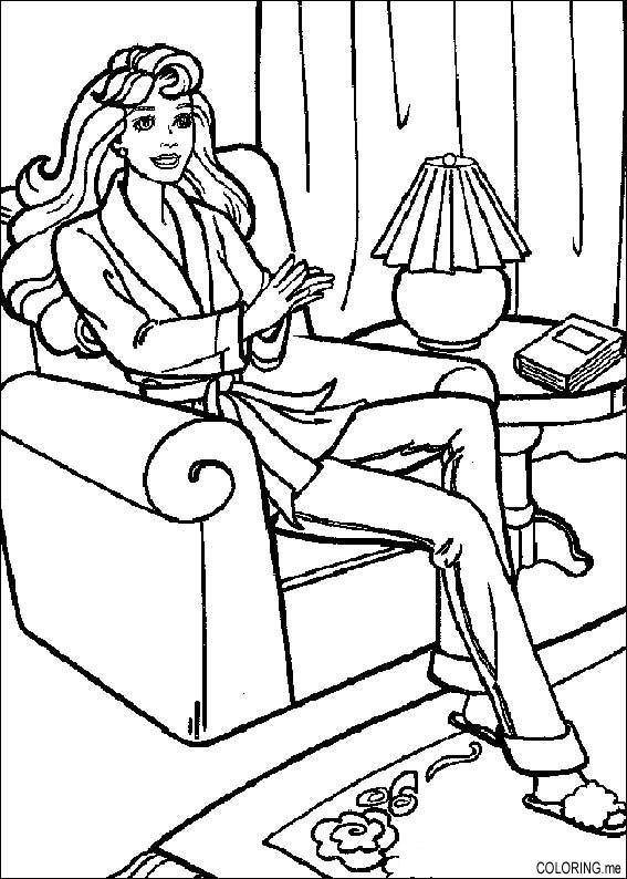 567x794 Coloring Page Barbie In The Living Room