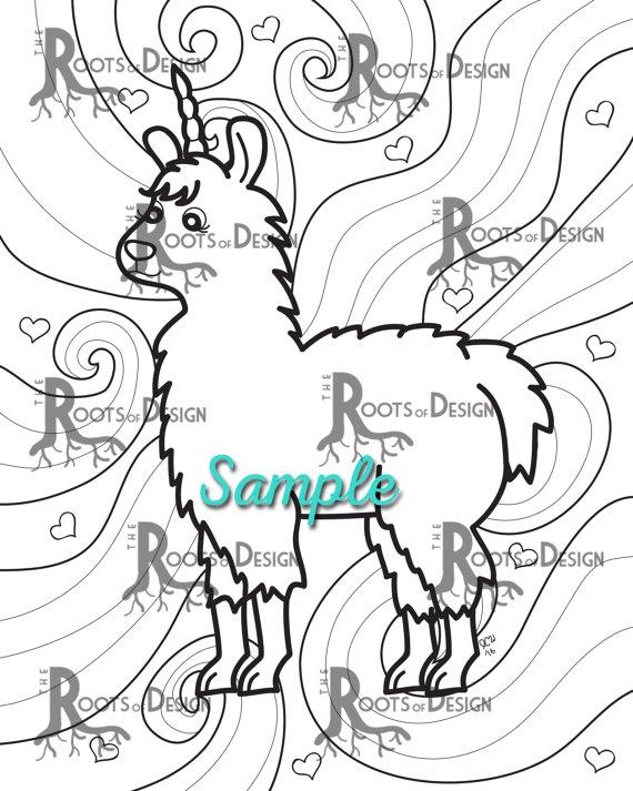570x713 Instant Download Coloring Page Fun Llamacorn Doodle Art