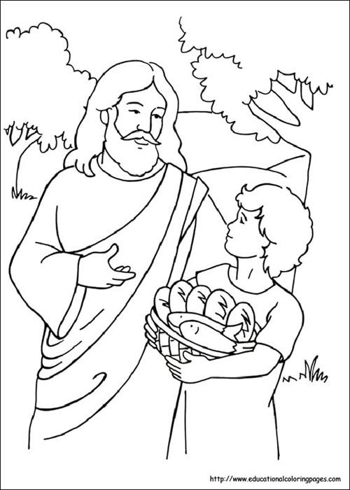 500x700 Loaves And Fish Coloring Pages Bible Fish