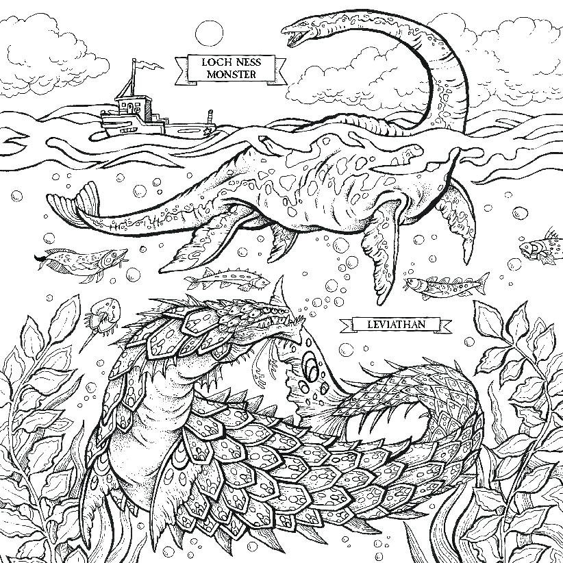 822x822 Loch Ness Monster Coloring Pages The Of Beasts O S Loch Ness