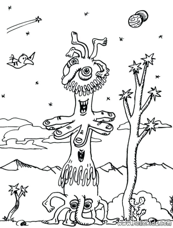 683x900 Loch Ness Monster Coloring Pages Two Mouthed Alien Coloring Pages