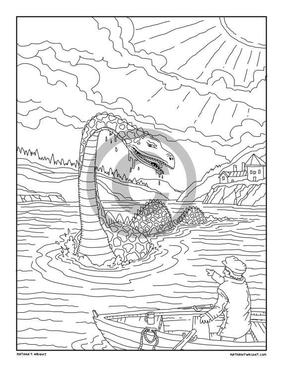 570x738 Items Similar To Loch Ness Monster Coloring Page, Printable Adult