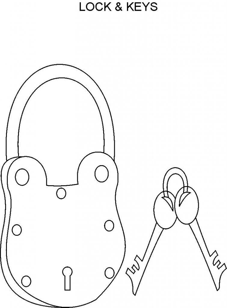 755x1024 Lock And Key Coloring Page