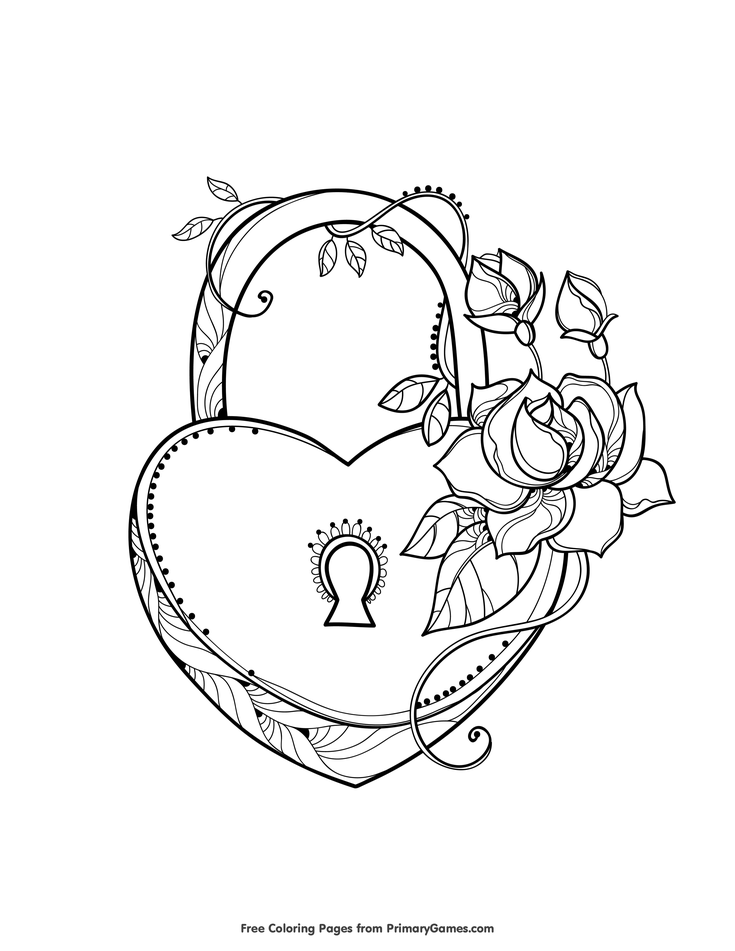 735x951 Valentine's Day Coloring Pages Ebook Heart Shaped Lock Heart