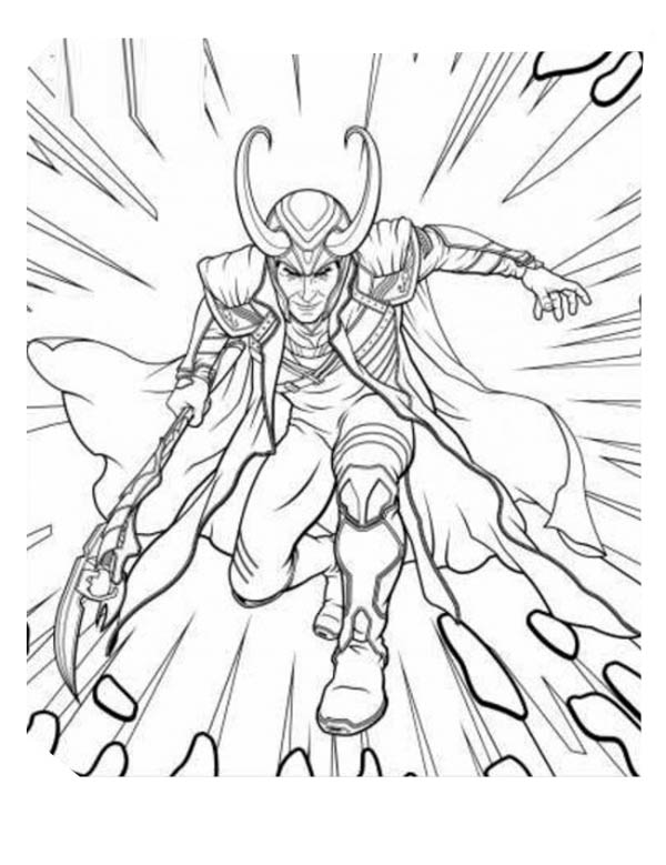 600x779 The Avengers Character Loki Coloring Page
