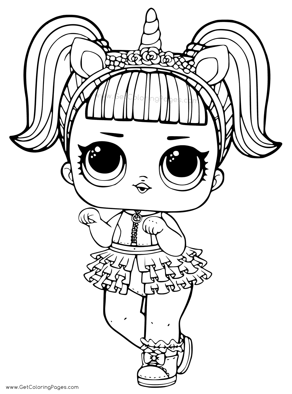 1024x1380 unicorn lol doll coloring page for girls