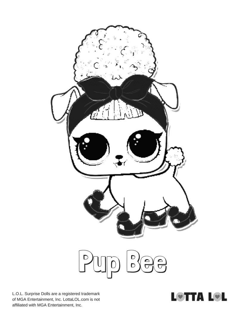 816x1056 pup bee lol surprise doll coloring page