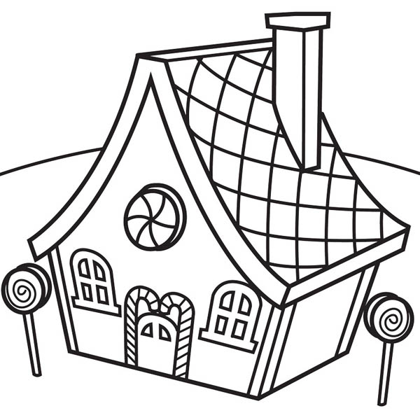 600x600 Gingerbread House And Lollipop Coloring Page