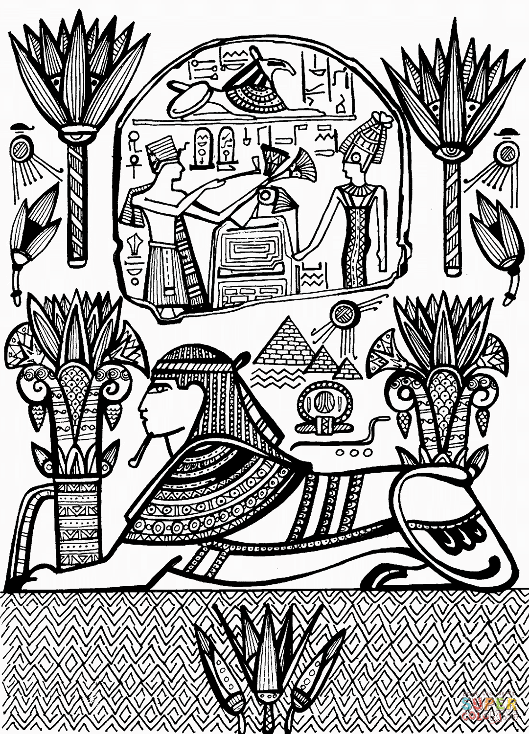 1081x1500 Free Sphinx Coloring Page Famous Places Pyramids The Statue
