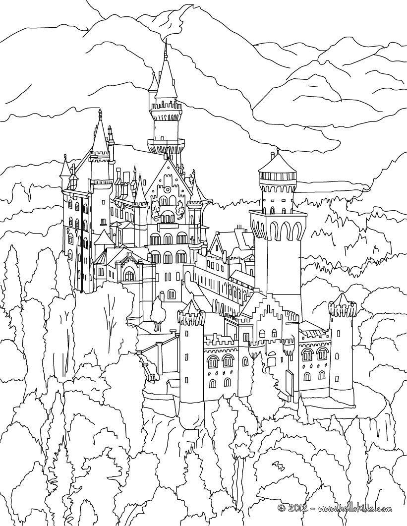 821x1061 Neuschwanstein Castle Coloring Page Adult Coloring Books