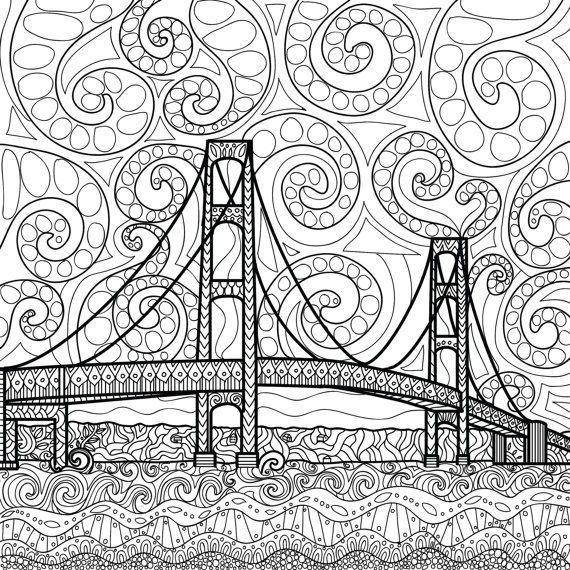 570x570 Printable Coloring Page Zentangle Mackinac Island Coloring Book