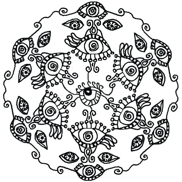 600x600 Eyeball Coloring Page All Seeing Eye Mandala Coloring Pages London