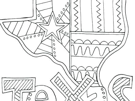 440x330 Texas Coloring Pages Coloring Pages Symbol Flag Coloring Page Map