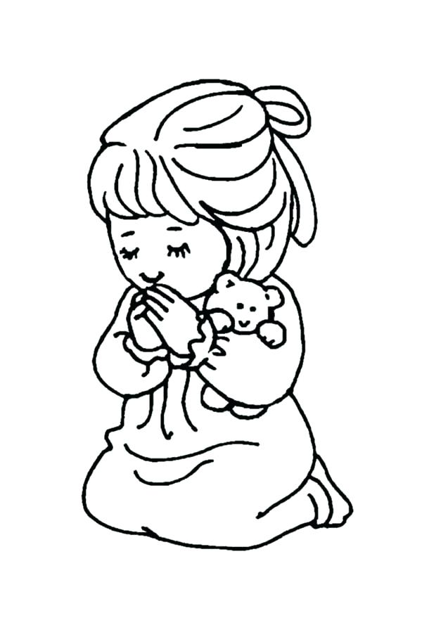 600x879 Prayer Coloring Pages The Lords Prayer For Kids Free Serenity