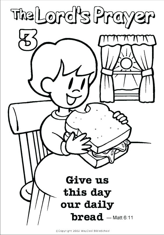 It is a picture of The Lord's Prayer Coloring Pages Printable intended for prayer activity