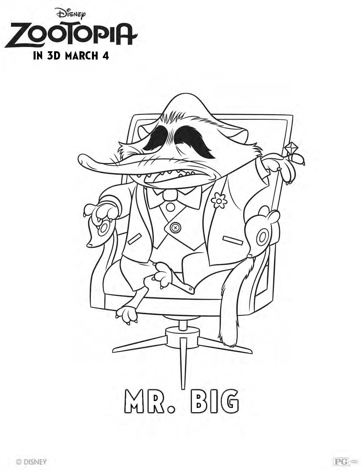 1275x1650 Get Your Zoo On With This Mr Big Coloring Page! Zootopia