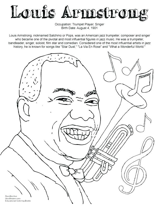 612x792 Louis Armstrong Coloring Page Coloring Page More Images