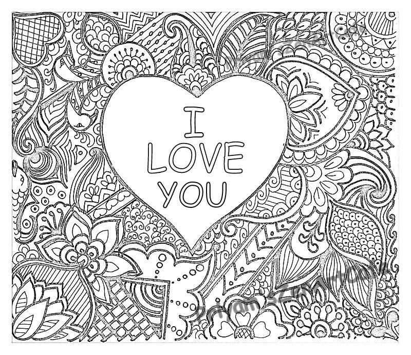 800x690 I Love You Art, Love Zentangle, Adult Coloring Page, Detailed