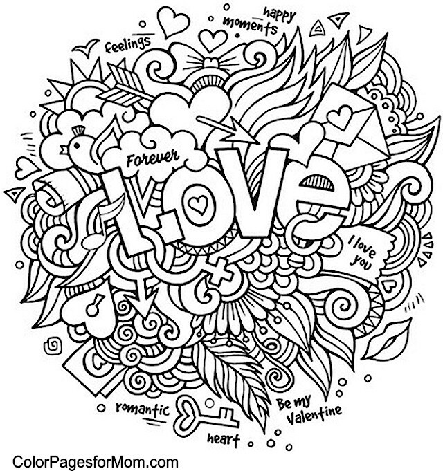 640x681 Love Adult Coloring Page Coloring Pages Adult