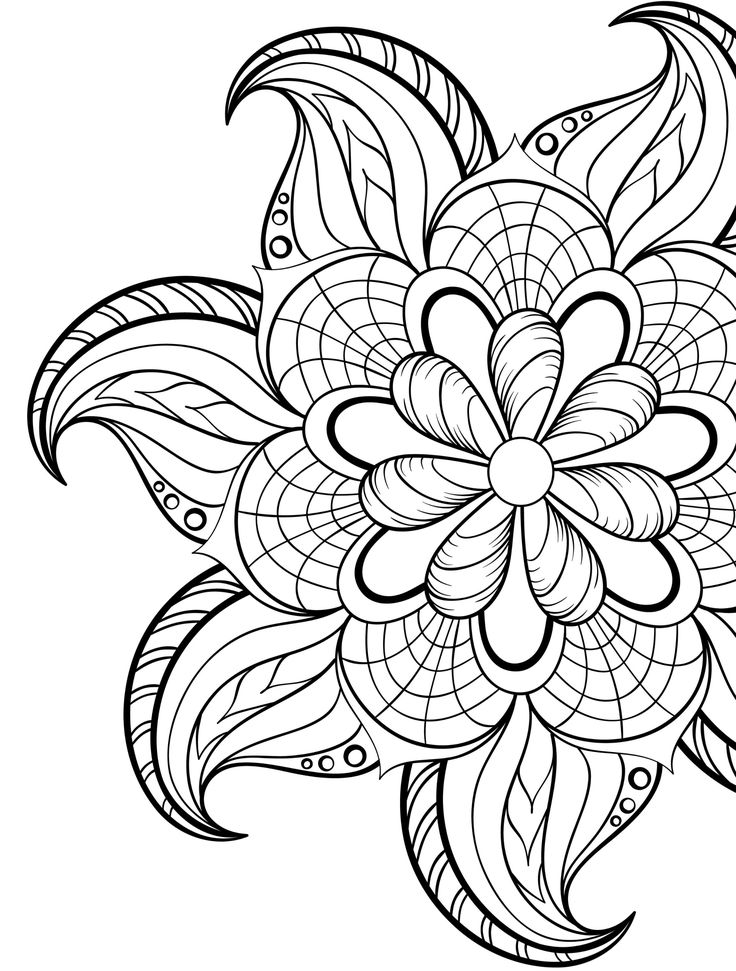 736x971 Love Adult Flower Coloring Pages Printable