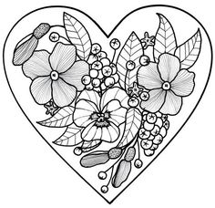 236x228 Wedding Shower Adult Coloring Page Love Heart Digital Wildflower