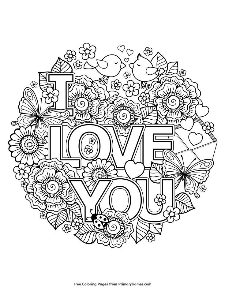 735x951 Adult Coloring Pages Love Mandala Free