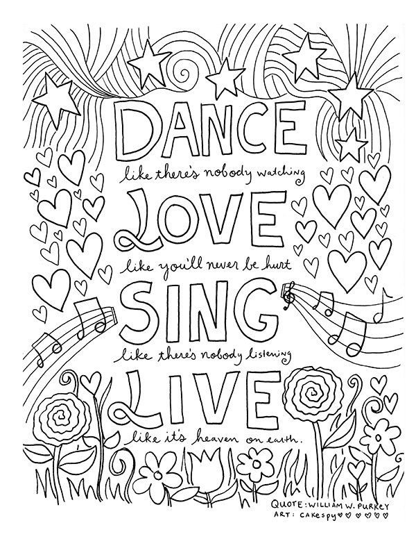 600x776 Live Laugh Love Stress Relief Coloring Pages Printable