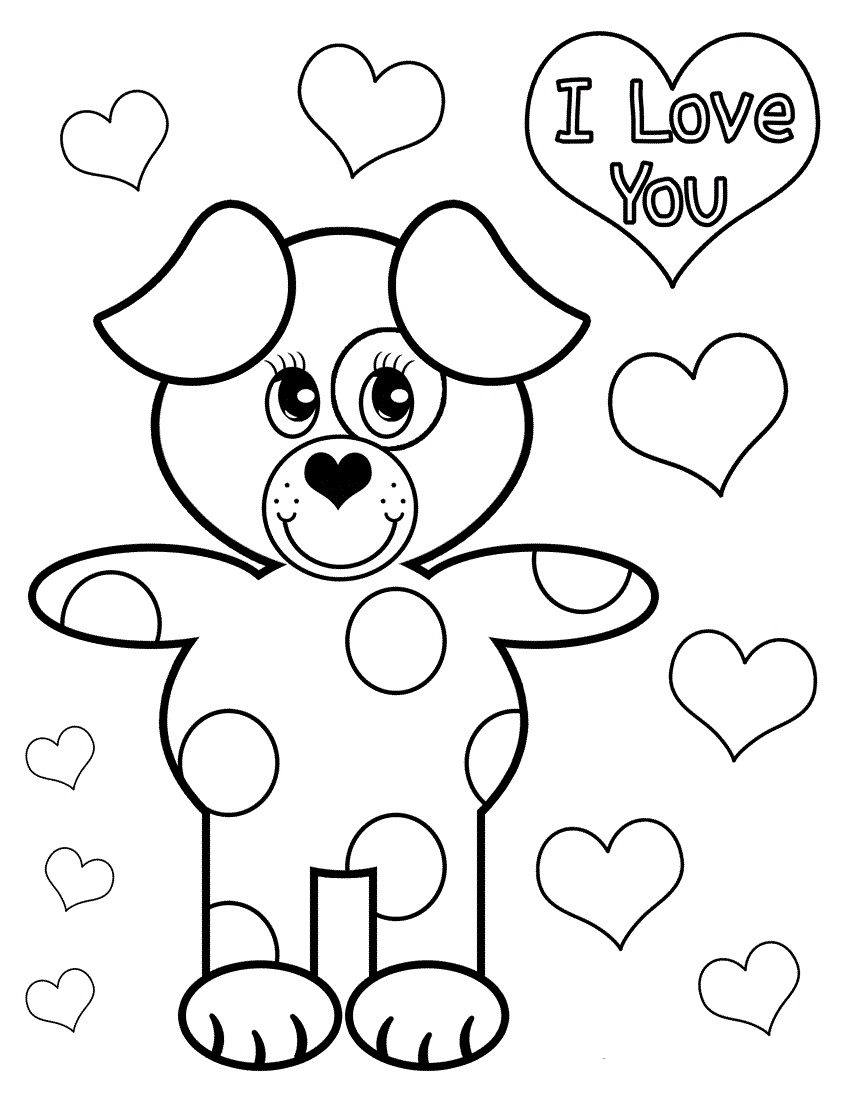 850x1100 Cute Puppy Love Coloring Page For Kidz