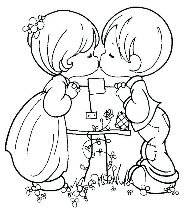 600x670 Love Color Pages Love Two Kids Kissing On Mail Box They Are