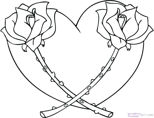 618x473 Heart Coloring Pages Printable Roses And Hearts Coloring Pages