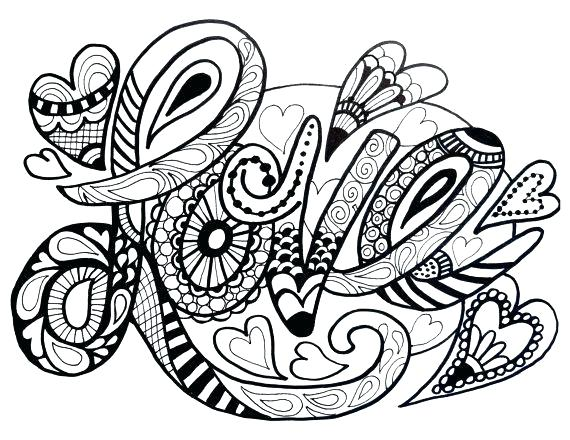 570x440 Love Coloring Pages Love Coloring Pages Adult Colouring Hearts