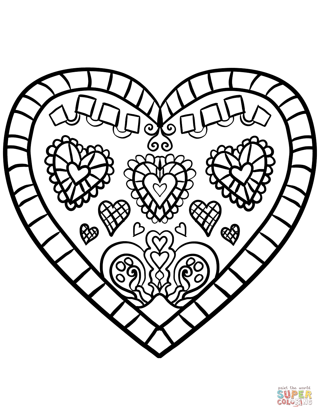 1053x1363 Printable Coloring Valentine Heart Coloring Page Hearts Pages