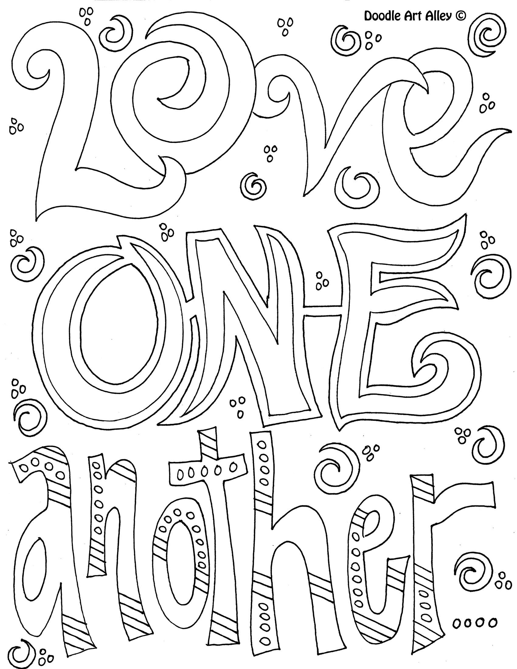 1700x2200 Doodle Coloring Page Love One Another Bgc Craft Ideas