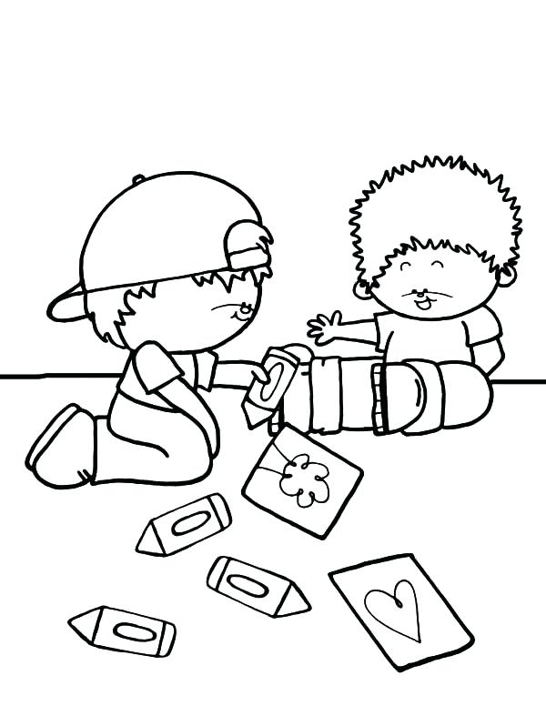 600x776 Fascinating Love One Another Coloring Page Drawing Together