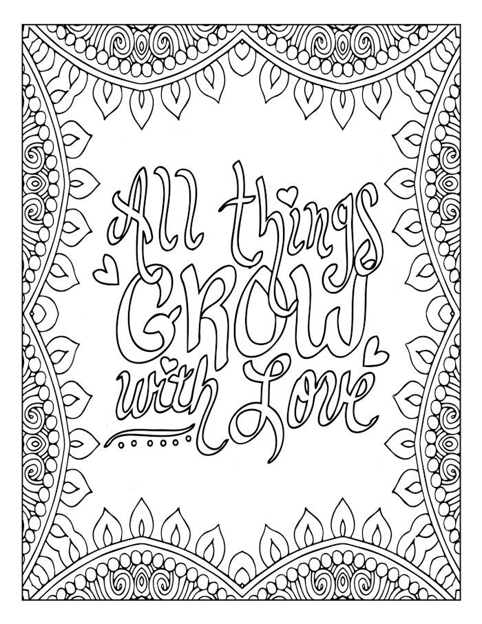 700x906 Motivational, Word Art, Coloring Page, Inspirational, Love Art
