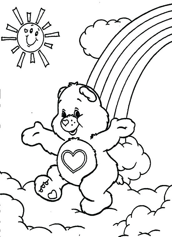 550x757 Care Bears Playing With Friends At Rainbow Coloring Pages Best