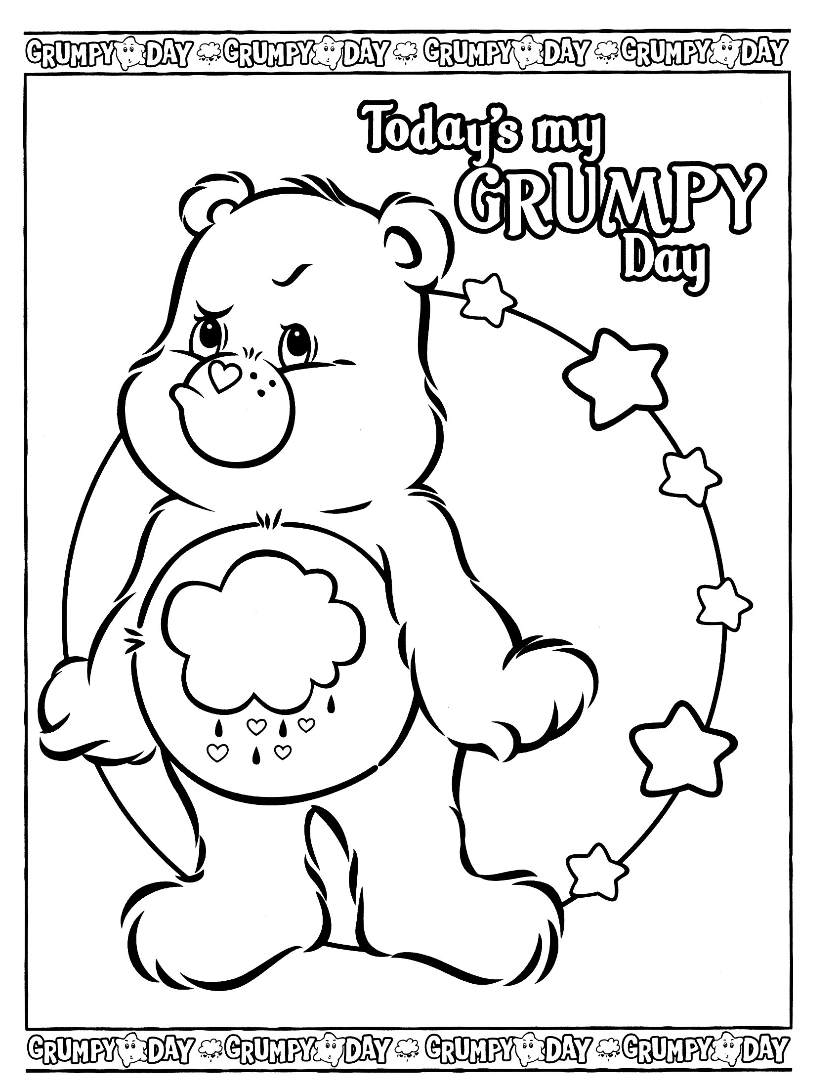 1700x2200 Sad Care Bear Coloring Pages