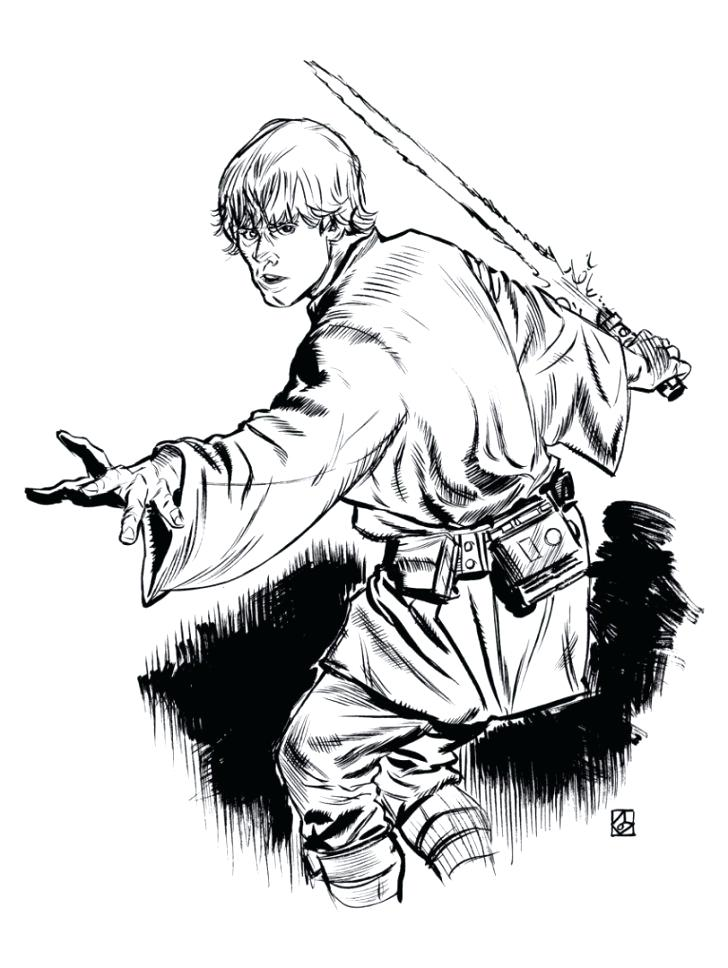 728x968 Luke Skywalker Coloring Pages To Print Also Picture Free Printable